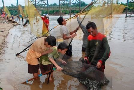 Menangkap Ikan Besar Sejumlah Warga Menangkap Ikan