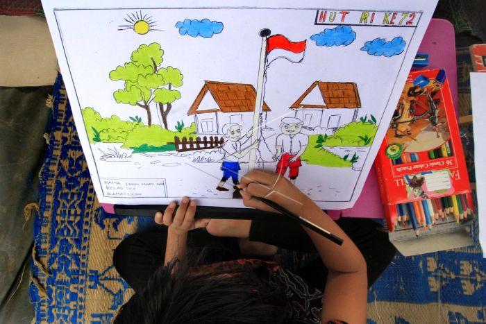 Lomba Mewarnai Kemerdekaan Indonesia Antara Foto